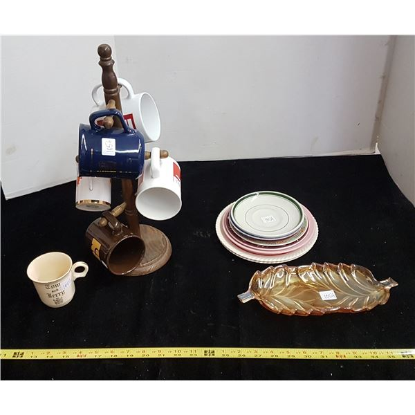 Coffee cups on stand & misc plates