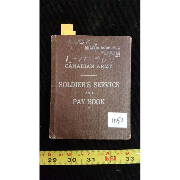 WWII army service pay book (Frank Lucky Sheho, SK)