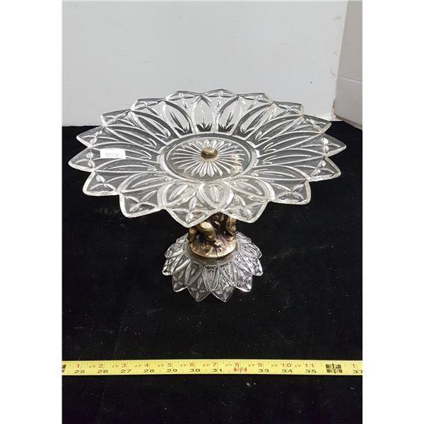 Victorian style 'Cherubs' glass & brass cake plate