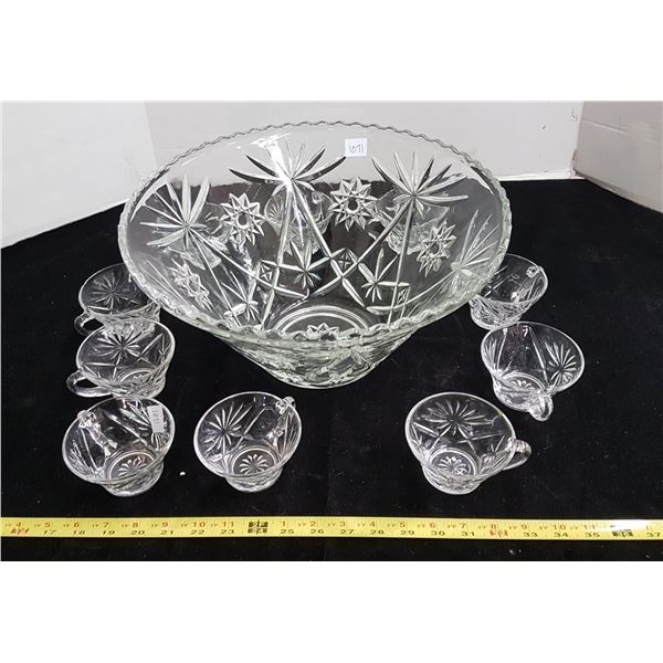 Prescut depression glass punch bowl & 10 cups