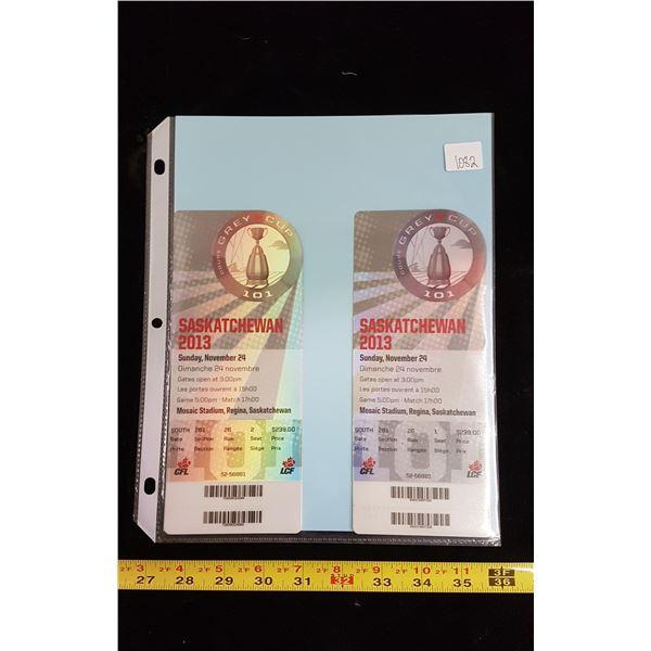 Roughriders grey cup tickets Nov 24th 2013