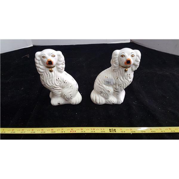 Pair of English Staffordshire pug dogs