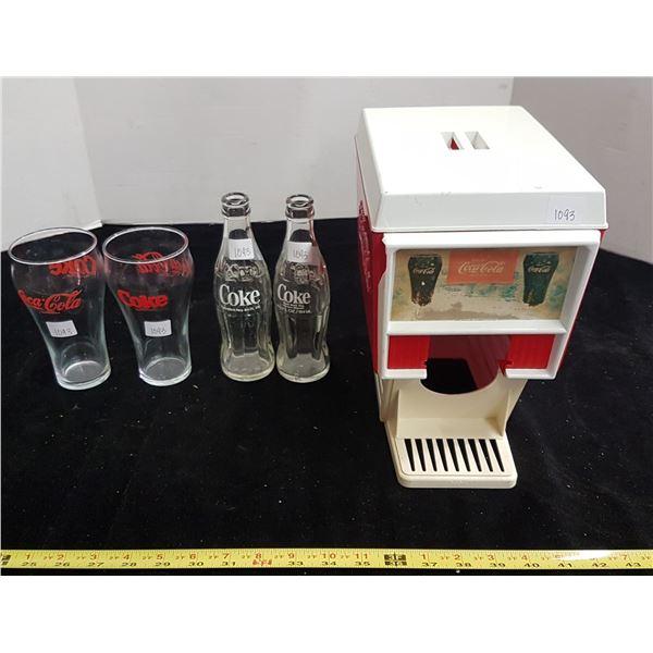 Coca Cola glasses, bottle & 1956 toy drink dispenser