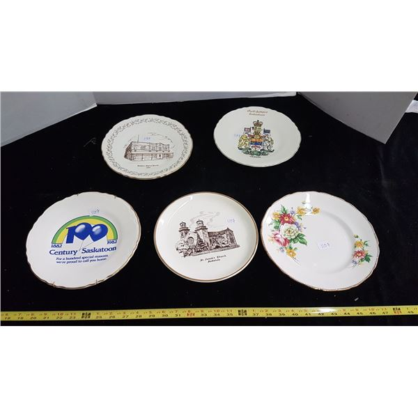 Five plates with advertising
