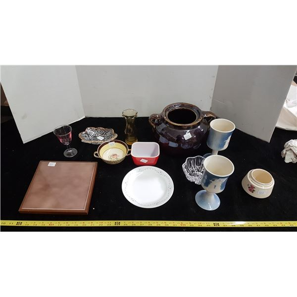 Box of misc dishes including bean pot