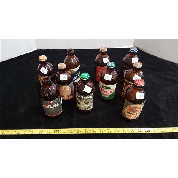 Lot of 10 Canadian 'Stubby' beer bottles