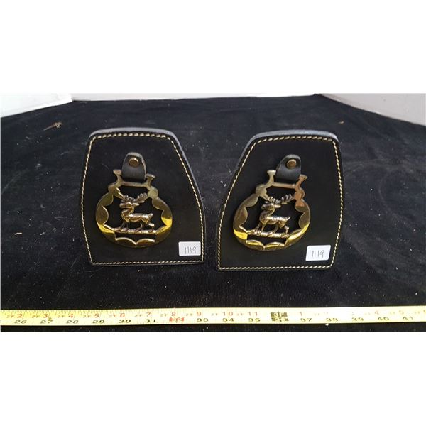 Leather & brass bookends