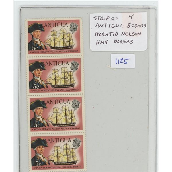 Strip of 4 Antigua 5 Cents Stamps. Horatio Nelson and his ship HMS Boreas. Mint.