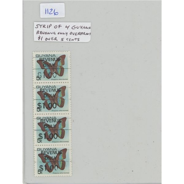 Strip of 4 Guyana stamps. They were originally 5 Cents stamps but have been overprinted REVENUE ONLY