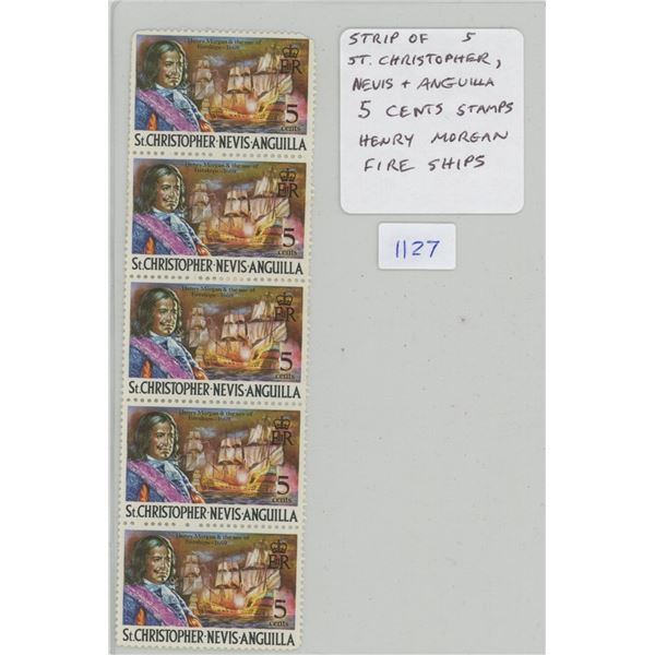 Strip of 5 St. Christopher, Nevis & Anguilla 5 Cents Stamps that depict the Pirate Henry Morgan and