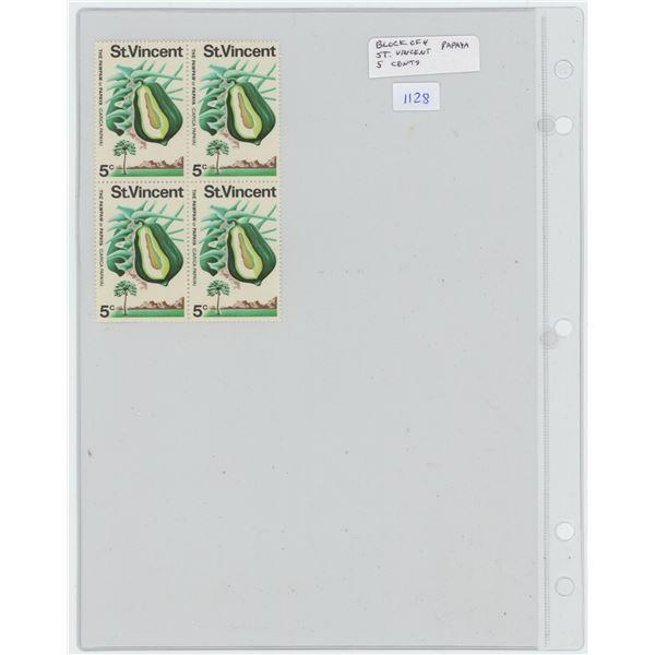 Block of 4 St. Vincent 5 Cents Stamps, that depict the Pawpaw (Papaya). Mint.