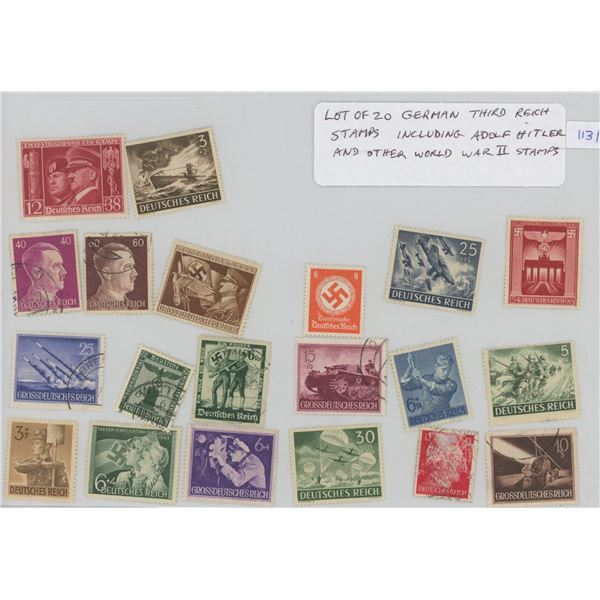 Lot of 20 German Third Reich Nazi Stamps that include Adolf Hitler and other World War II Stamps.
