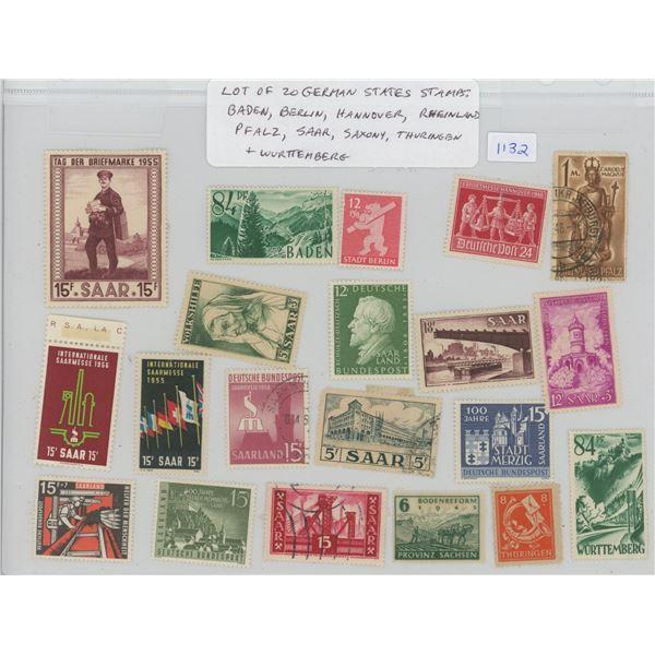 Lot of 20 German States Stamps: Includes Baden, Berlin, Hannover, Rheinland-Pfalz, Saar, Saxony, Thu
