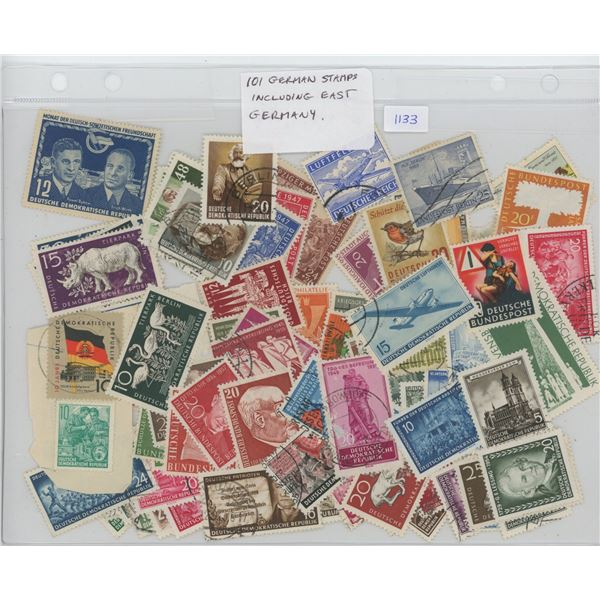 Lot of 101 German Stamps including pre-War, post-war and East Germany (DDR).
