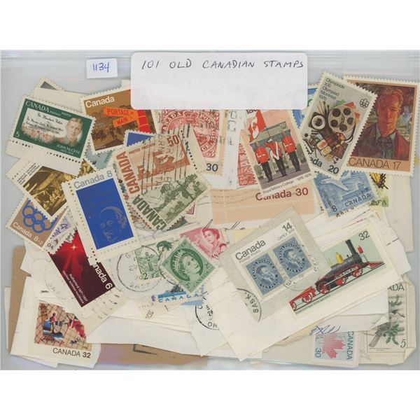 Lot of 101 Old Canadian Stamps. (Some mint).