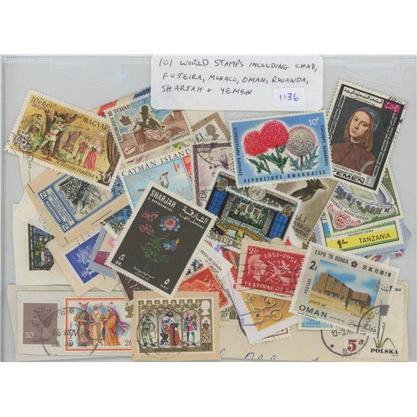 101 World Stamps including Chad, Fujeira, Monaco, Oman, Rwanda, Sharjah, & Yemen.