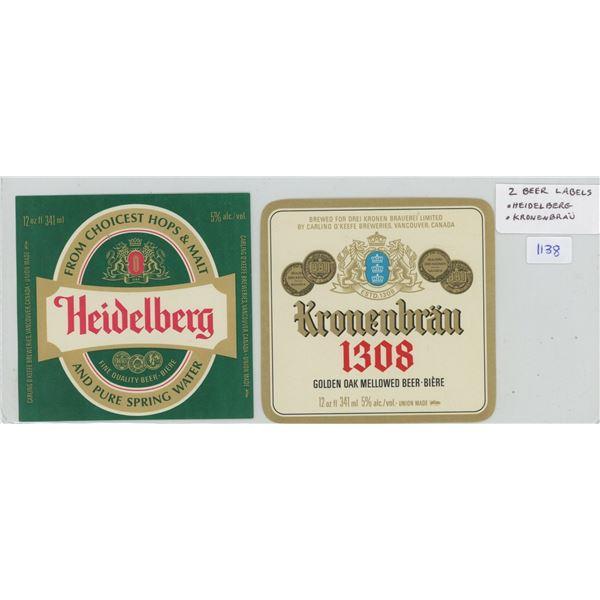 Lot of 2 new Beer Labels: Heidelberg, Kronenbrau.