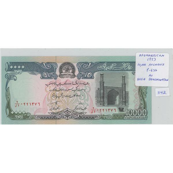 Afghanistan. 1993 10,000 afghanis paper money. High Denomination Note. P-63b. AU.
