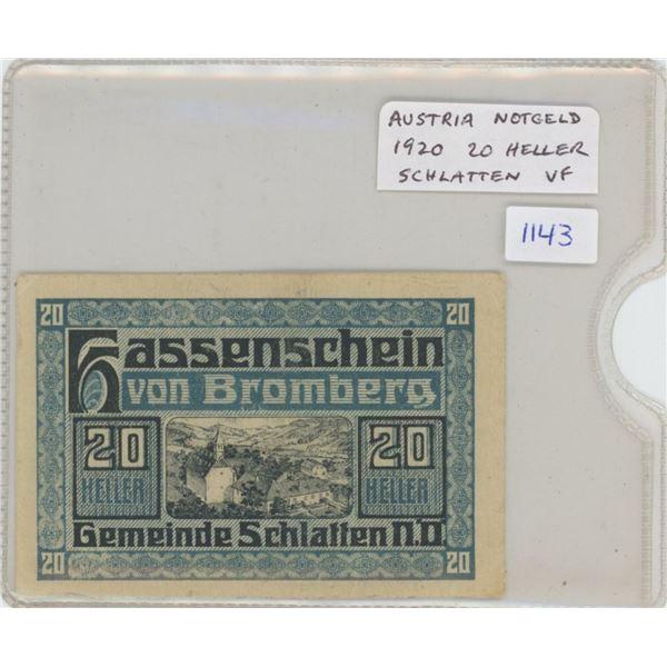 Austria .1920 20 Heller Notgeld (Necessity Money). From Schlatten, Lower Austria. VF.