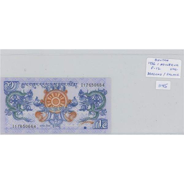 Bhutan. 1986 1 Ngultrum. Dragons/Palace. A beautiful note. P-12. Unc.