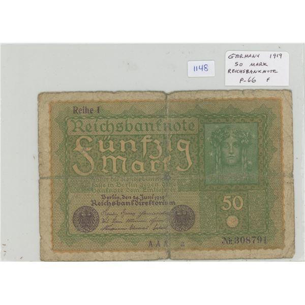 Germany. 1919 50 Mark. Reichsbanknote. P-66. F.