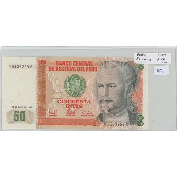 Peru. Central Reserve Bank of Peru. 1987 50 Intis. P-131. Unc. Nice.
