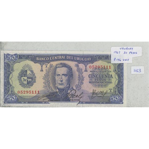 Uruguay. 1967 50 Pesos. Founding of the country. P-46. Unc. Nice.