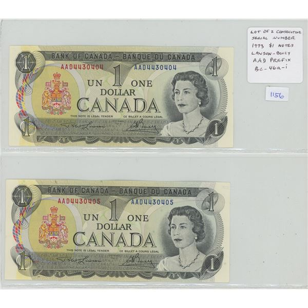Lot of 2 Consecutive Serial Number 1973 $1 notes. Lawson-Bouey signatures. AAD Prefix. Serial Number
