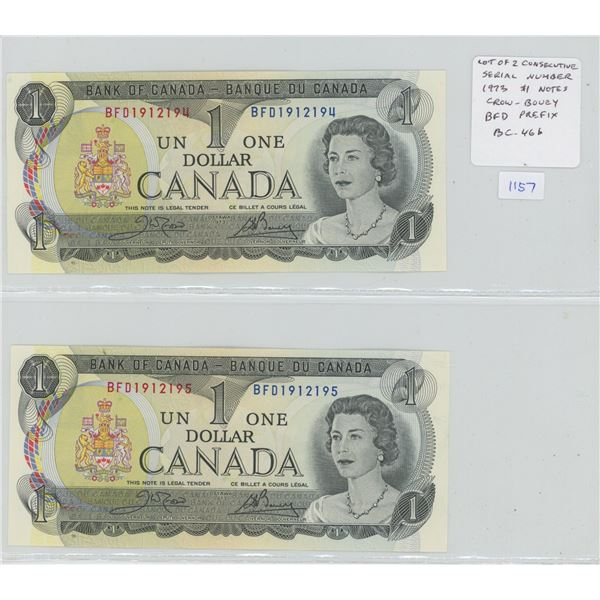 Lot of 2 Consecutive Serial Number 1973 $1 notes. Crow-Bouey signatures. BFD Prefix. Serial Number 1