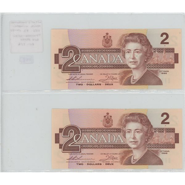 Lot of 2 Consecutive Serial Number 1986 $2 notes. Thiessen-Crow signatures. BUV Prefix. Serial Numbe