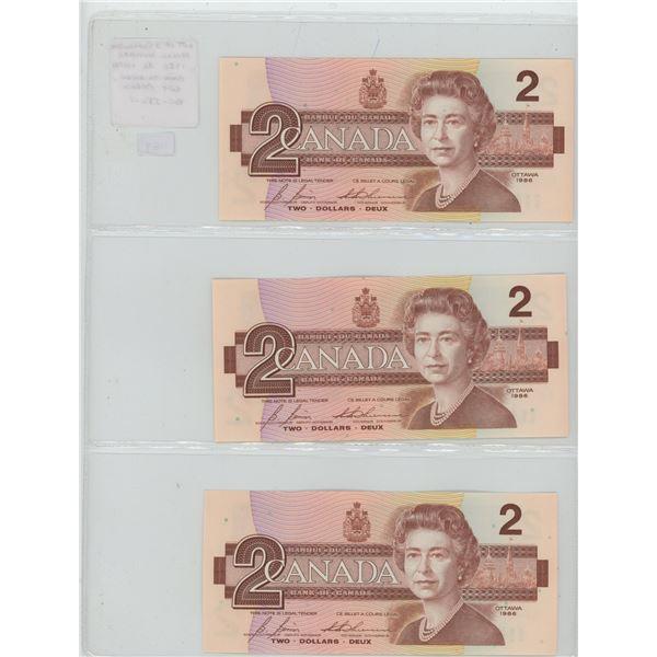 Lot of 3 Consecutive Serial Number 1986 $2 notes. Bonin-Thiessen signatures. EGT Prefix. Serial Numb