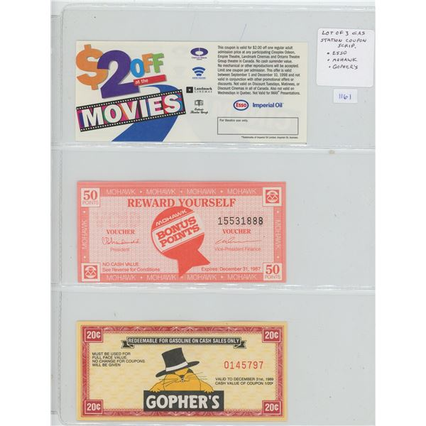 Lot of 3 Gas Station Coupon Scrip: ESSO, Mohawk, Gopher's Gas.
