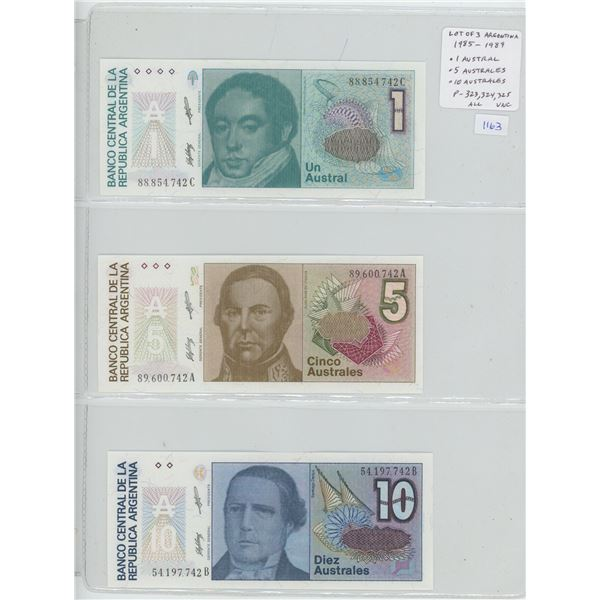 Lot of 3 notes from Argentina. 1985 – 1989 1 Austral, 5 Australes & 10 Australes. P-323, P-324, P-32