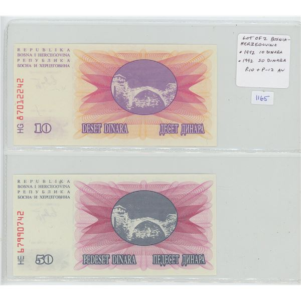Lot of 2 notes from Bosnia-Herzegovina. First issued notes from these former Yugoslavian states. 199