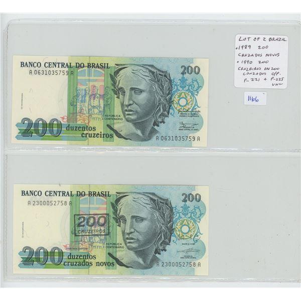 Lot of 2 notes from Brazil. 1989 200 Cruzados & 1990 200 Cruzeiros overprinted in a 200 Cruzados not