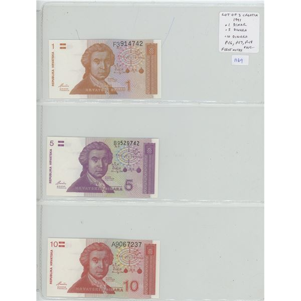 Lot of 3 of the first notes issued for Croatia, former Yugoslavian state. 1991 1 Dinar, 5 Dinara & 1