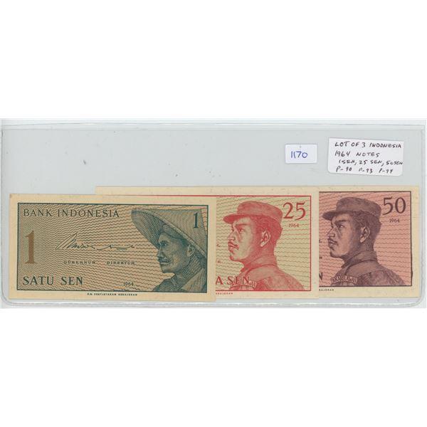 Lot of 3 notes from Indonesia. 1964 set includes 1 Sen, 25 Sen & 50 Sen. P-90, P-93, P-94.
