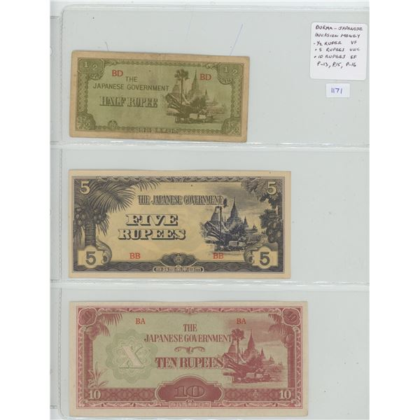 Burma. Japanese Invasion Money issued by the Japanese government during their occupation of Burma du