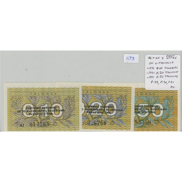 Lot of 3 of the first notes issued by Lithuania, former Soviet Union state and now independent natio