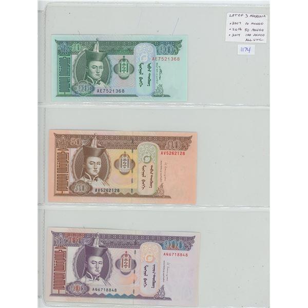 Lot of 3 notes from Mongolia. 2007 10 Tugrik, 2016 50 Tugrik, 2014 100 Tugrik. Himalaya Mountains.