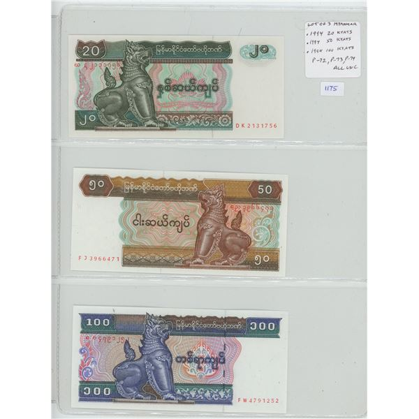 Lot of 3 notes from Myanmar. (Formerly called Burma). 1994 20 Kyats, 50 Kyats, 100 Kyats. P-72, P-73