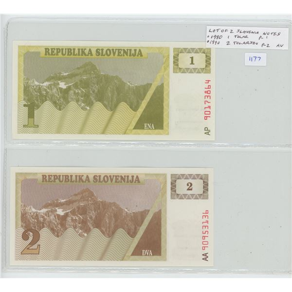 Lot of 2 of the first notes from Slovenia, former Yugoslavian state and now independent nation. 1990