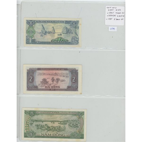 Lot of 3 notes from Viet Nam. 1985 1 Dong (AU), 1980 (81) 2 Dong (VF), 1985 5 Dong (EF).