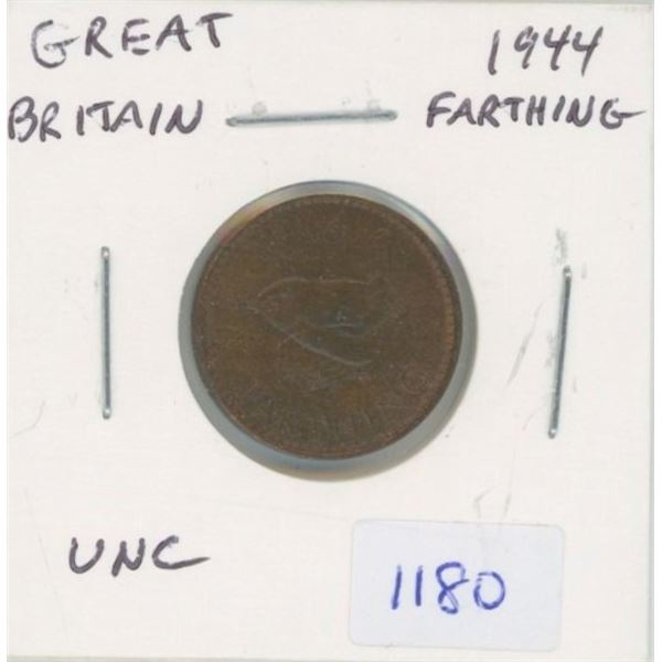 Great Britain. 1944 Farthing. World War II issue. Unc with Traces of Lustre. Nice.