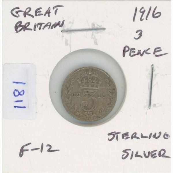 Great Britain. 1916 3 Pence. Sterling Silver. World War I issue. F-12.