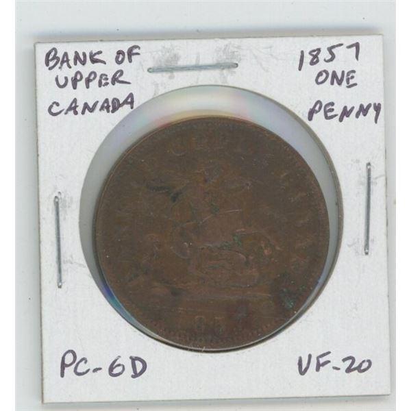 Pre-Confederation Bank of Upper Canada 1857 One Penny Token. PC-6D. VF-20.