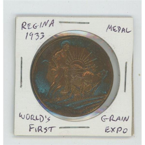 Regina. 1933. World's First Grain Exposition bronze medal.