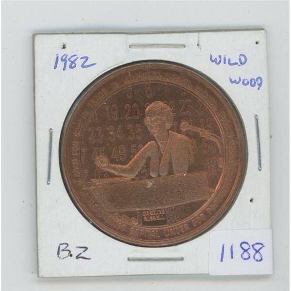 Wildwood, Alberta. 1982 Trade Dollar. Bingo. Bronze. Produced by Elks Lodge #411. Unc.