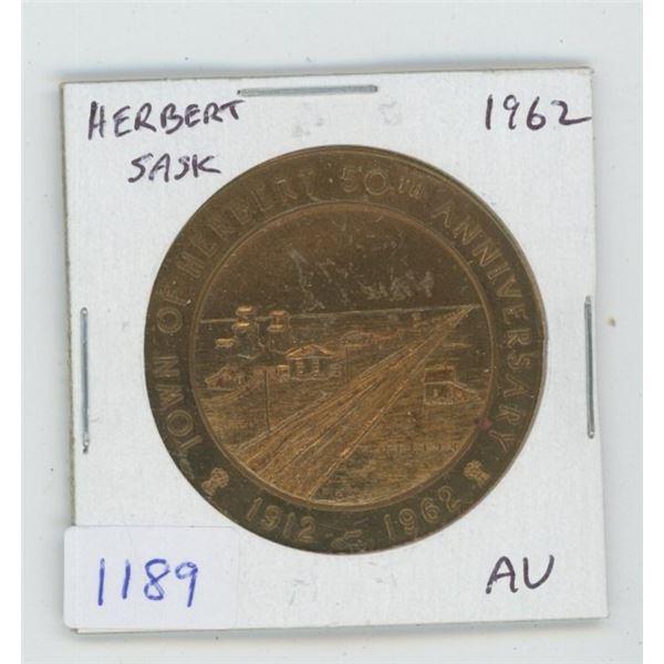 Herbert, Saskatchewan. 1912-1962 Trade Dollar. Scarce. AU.