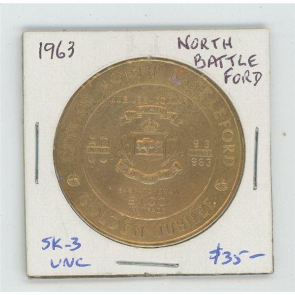 North Battleford, Saskatchewan. 1963 Trade Dollar. SK-3. Saskatchewan's third Trade Dollar. Scarce.